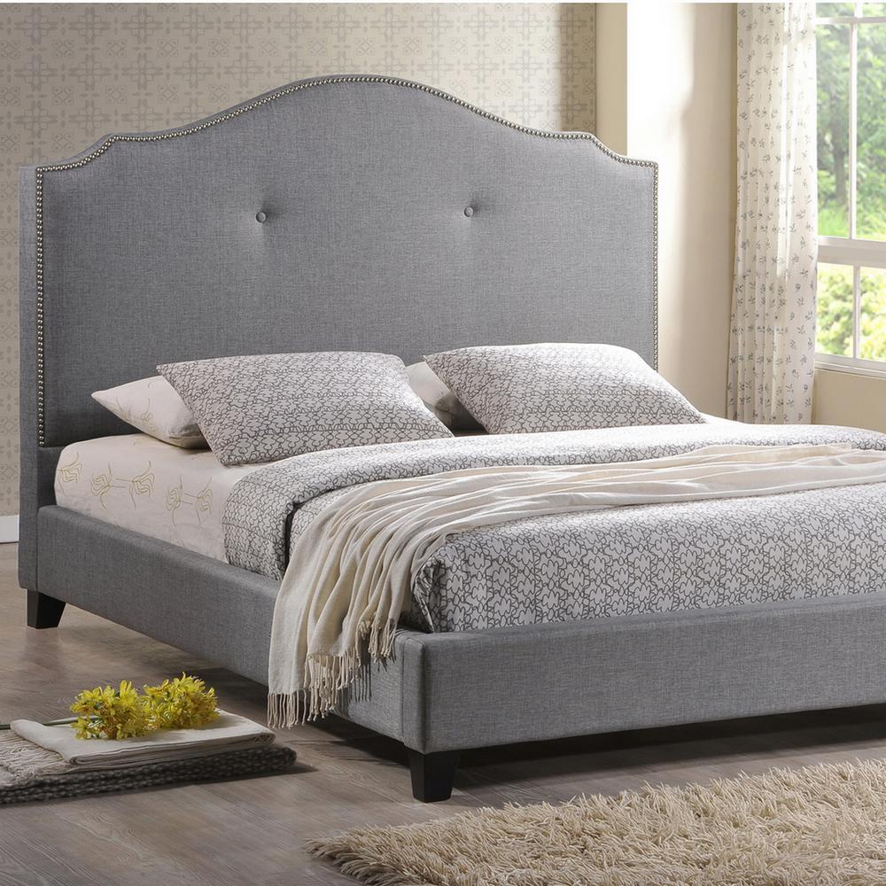Beautiful Baxton Studio Marsha Grey Queen Upholstered Bed