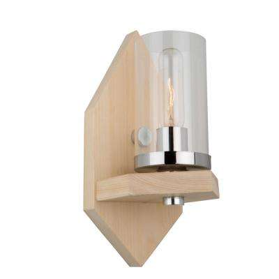 1-Light Natural Light Wood and Chrome Sconce