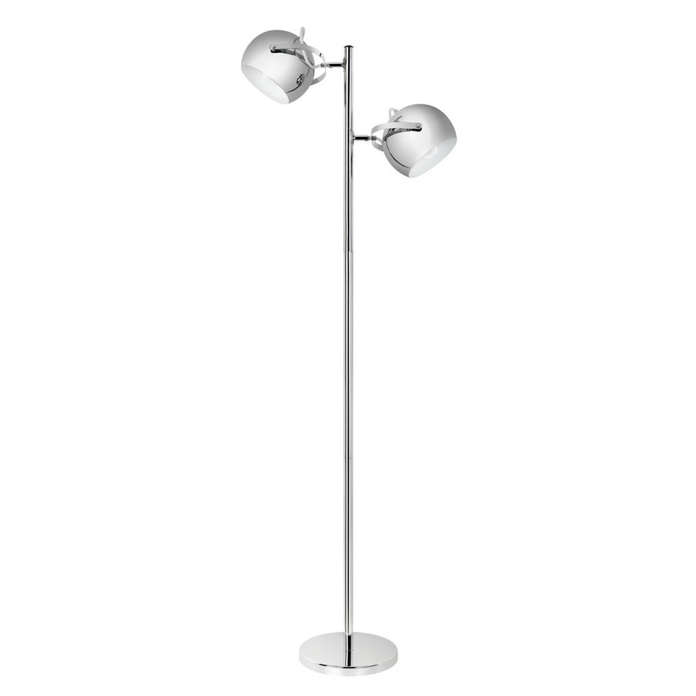 Miles 2 Light Adjustable Head Chrome Floor Lamp
