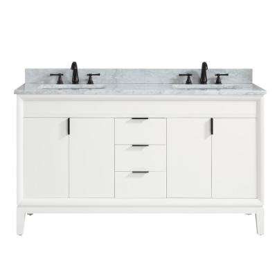 Emma 61 in. W x 22 in. D x 35 in. H Bath Vanity in White with Marble Vanity Top in Carrara White with Basins