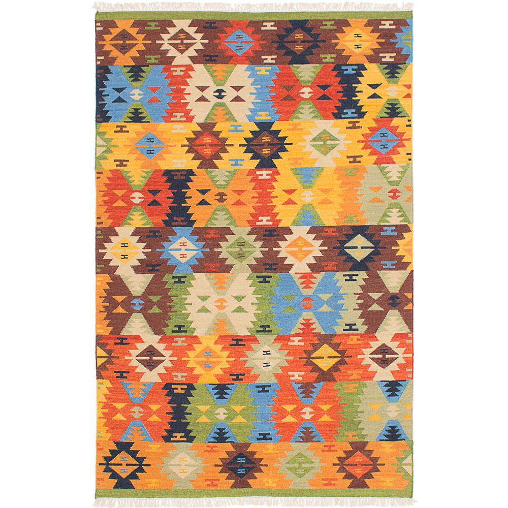 Ecarpet Gallery Mamaris Emerald Green Orange Wool Kilim 8