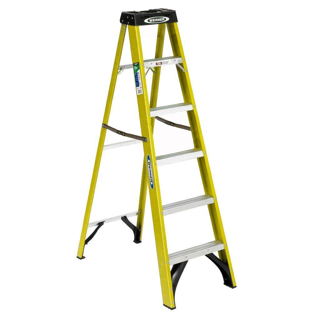 Werner 6-Ft Fiberglass Step Ladder with 225 lb. Load Capacity