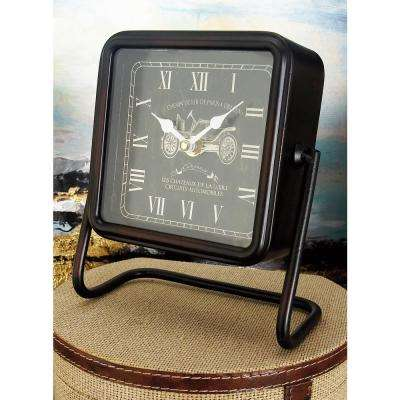 7 in. x 7 in. Black Rounded Square French Tour Table Clocks (Set of 3)