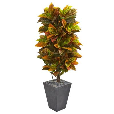 Real Touch 5.5 ft. Indoor Croton Artificial Plant in Slate Planter