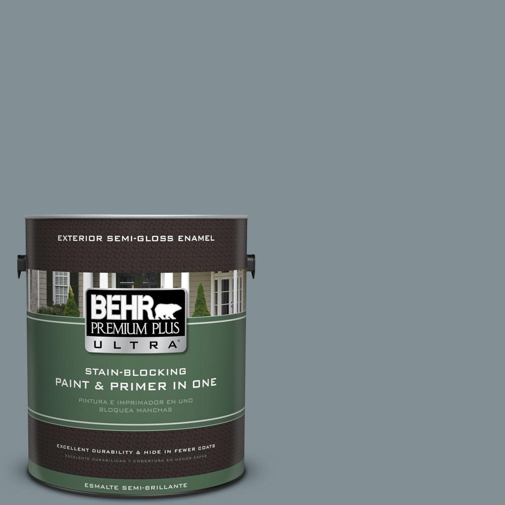 1-gal. #740F-4 Dark Storm Cloud Semi-Gloss Enamel Exterior Paint