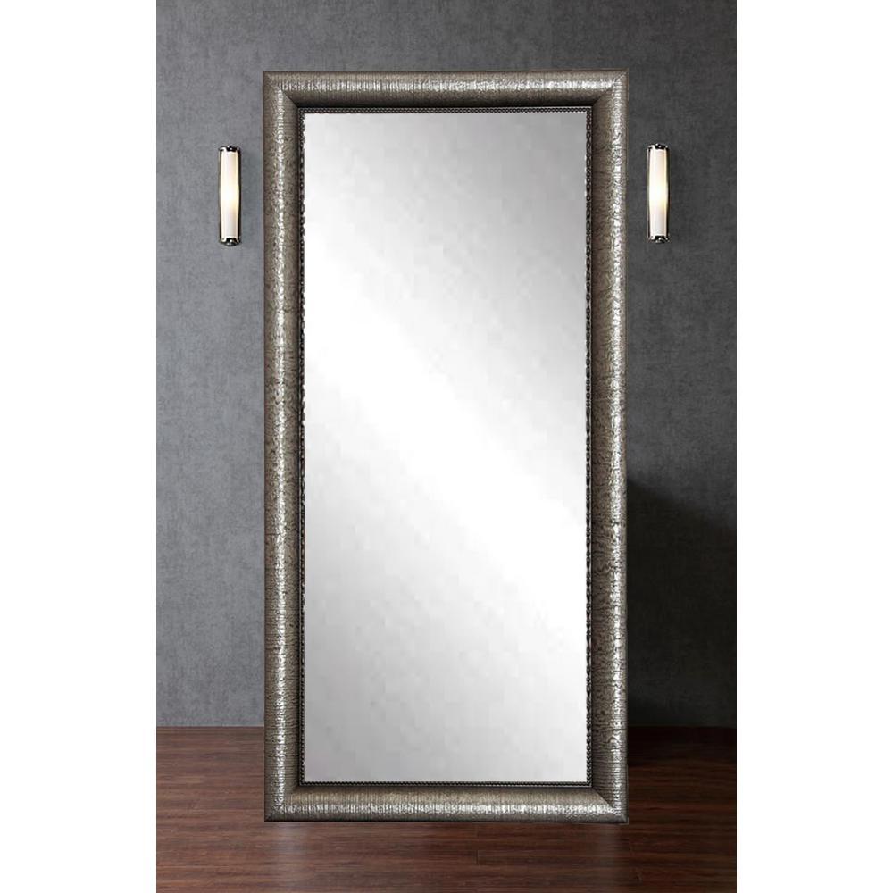 Silver metallic glam framed mirror bm016s the home depot for Silver framed mirror