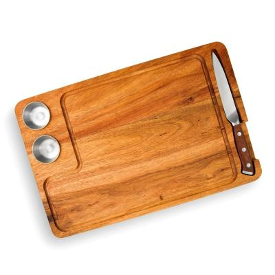 Large 15 in. x 10 in. Rectangular Acacia Wood End Grain Steak Board Set with Knife and Sauce Holders