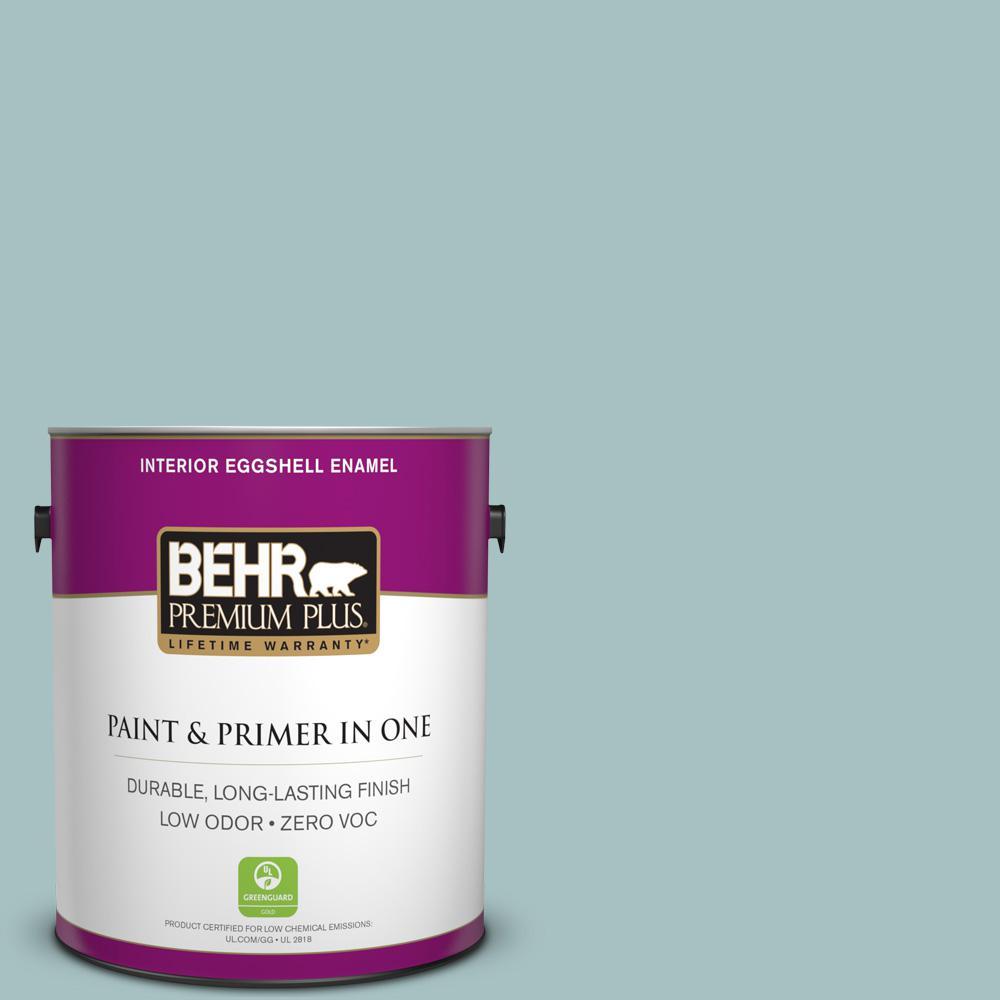 BEHR Premium Plus 1-gal. #500F-4 Swan Sea Zero VOC Eggshell Enamel Interior Paint