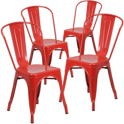 Stackable Metal Outdoor Dining Chair in Red (Set of 4)