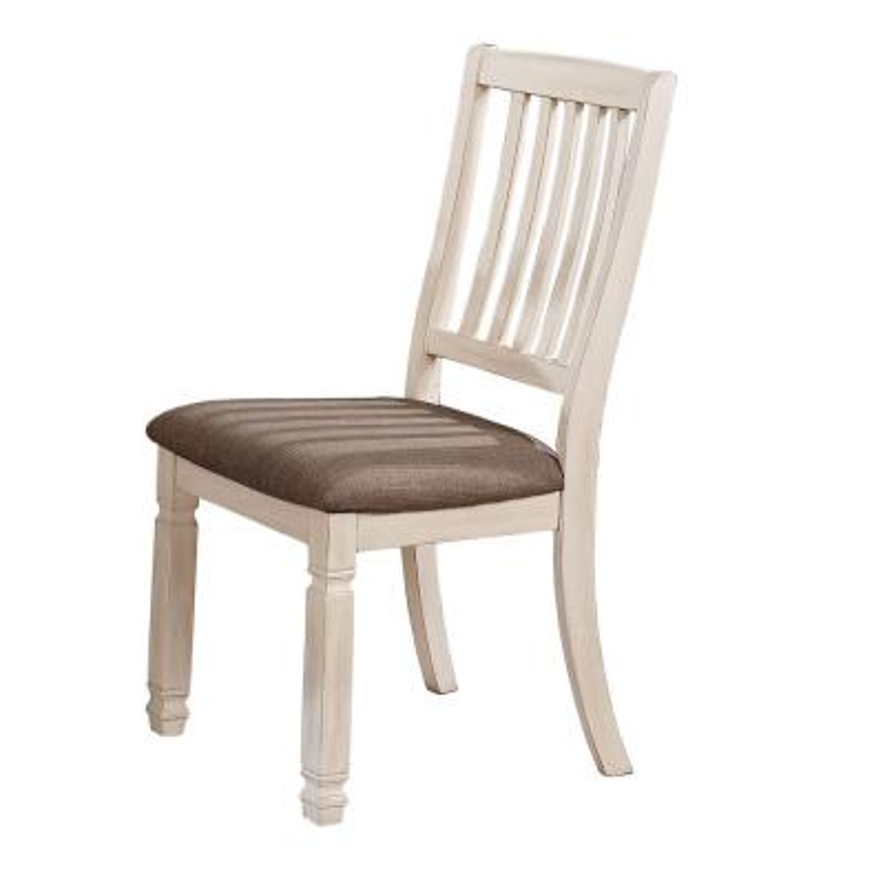 Nina Antique White Fabric Slat Side Chair (Set of 2)