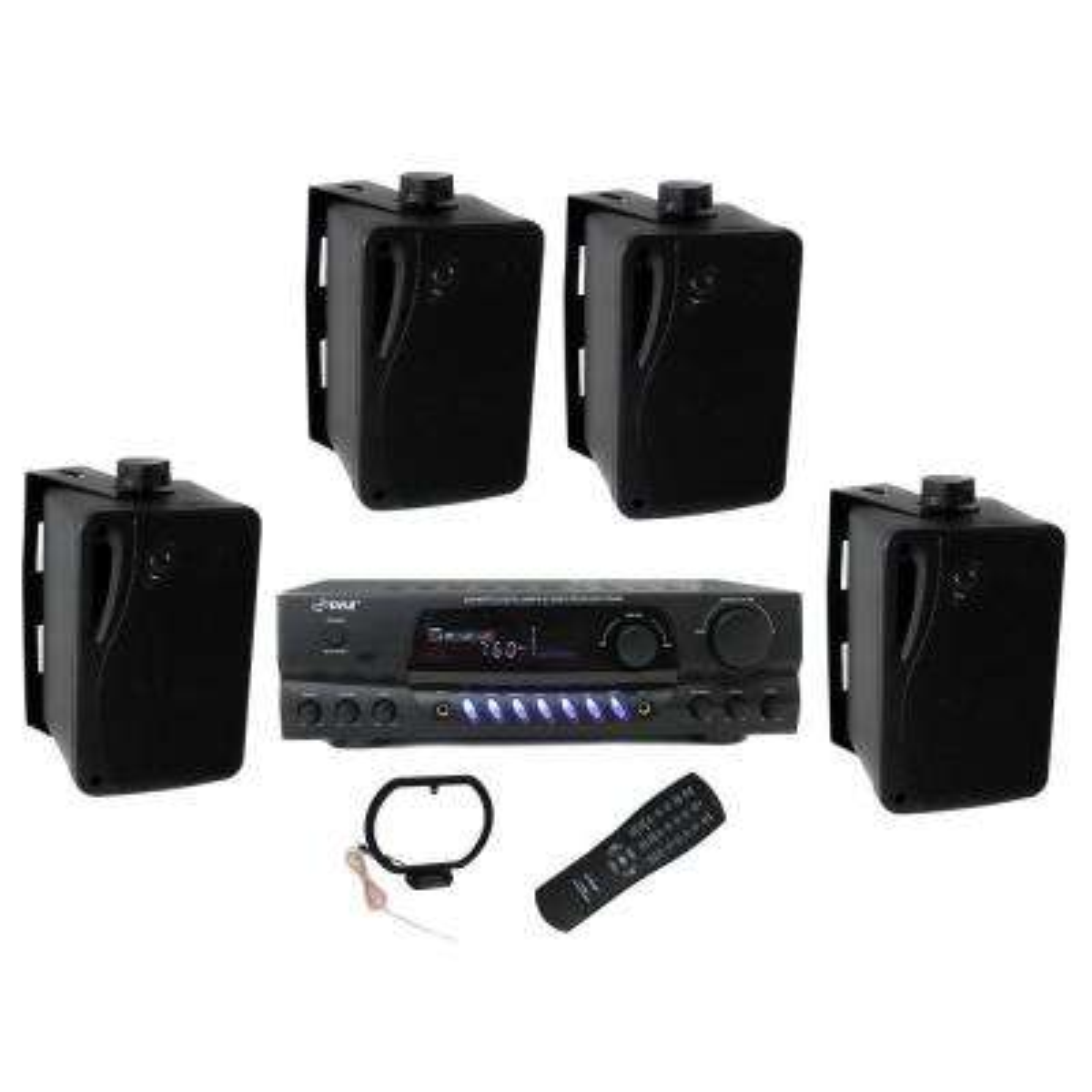 3.5 in. 200-Watt Box Speakers Plus PT260A Home Digital Stereo Receiver