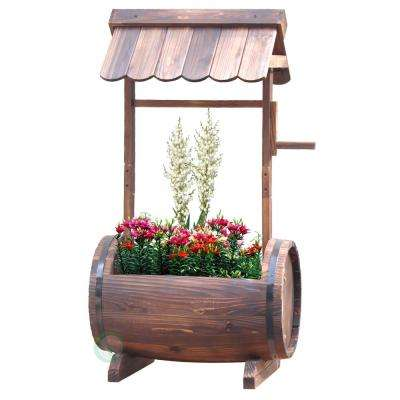 20 in. W x 13.5 in. D x 37 in. H Wood Barrel Well Planter