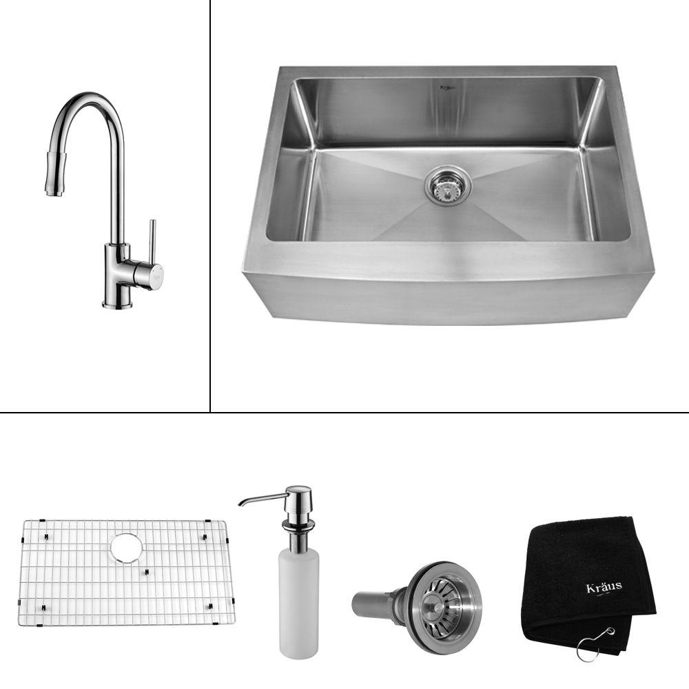 KRAUS All-in-One Farmhouse Apron Front Stainless Steel 30 in. Single Basin Kitchen Sink with Faucet and Accessories in Chrome