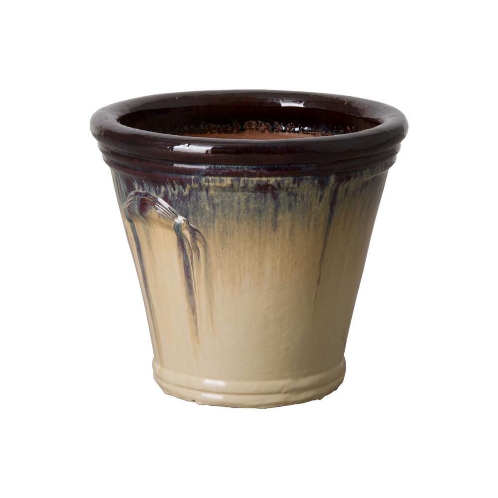 Pail 16.5 in. Dia Cream/Java Round Ceramic Planter
