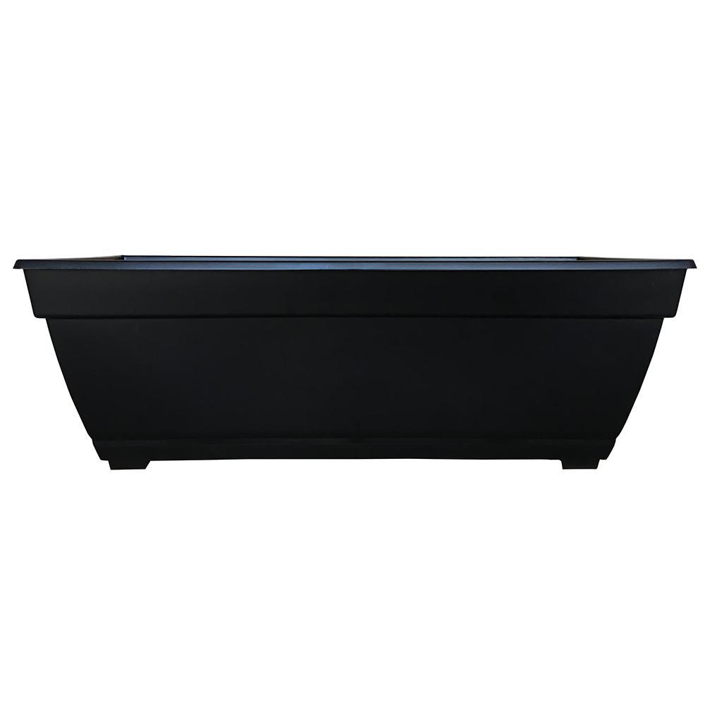 Newbury 26.85 in. x 12 in. Black Resin Deck Box Planter