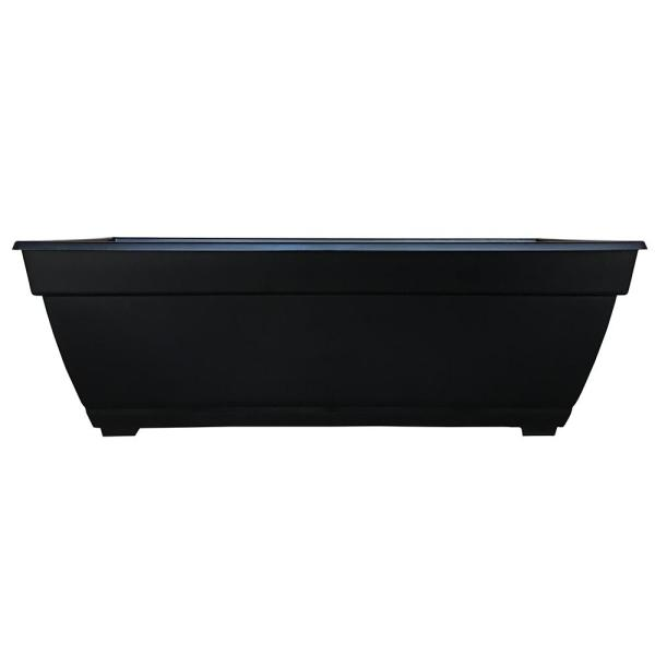26.85 in. x 12 in. Black Plastic Window Boxes & Troughs