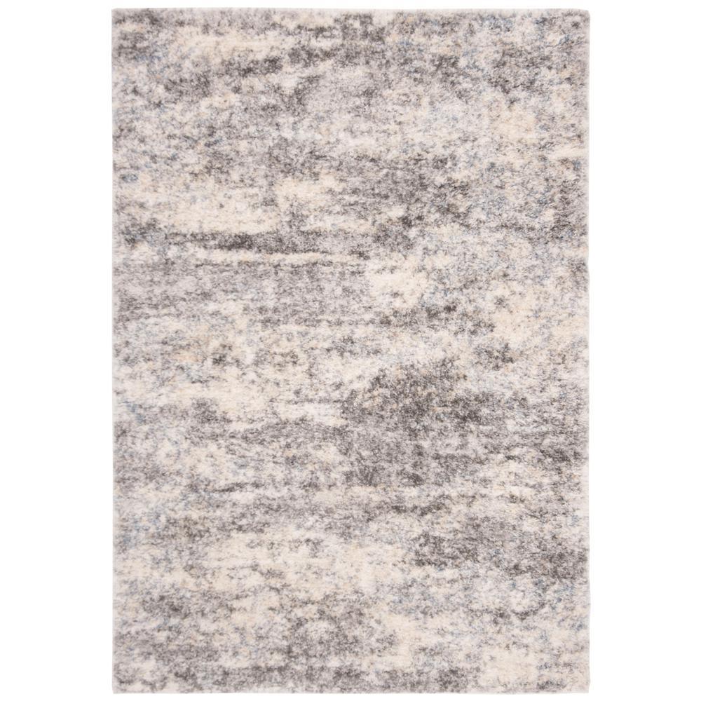 Berber Shag Gray/Cream 6 ft. x 9 ft. Area Rug