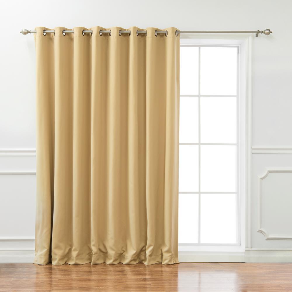 Wide Basic 100 in. W x 84 in. L  Blackout Curtain in Wheat