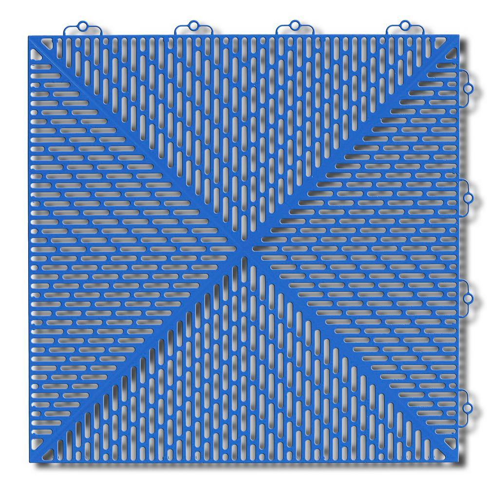 Soft 1.24 ft. x 1.24 ft. Polyethylene Interlocking Deck Tiles in Light Blue (35-per case/53.8 sq. ft.)