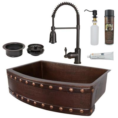 All-in-One Copper 30 in. Rounded Single Barrel Strap Kitchen Farmhouse Apron Front Sink with Spring Faucet in ORB