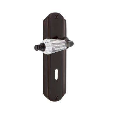 Deco Plate with Keyhole 2-3/4 in. Backset Timeless Bronze Privacy Parlor Lever
