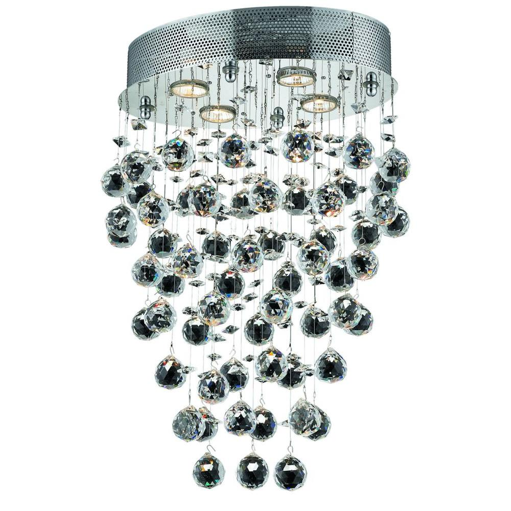 4-Light Chrome Chandelier with Clear Crystal