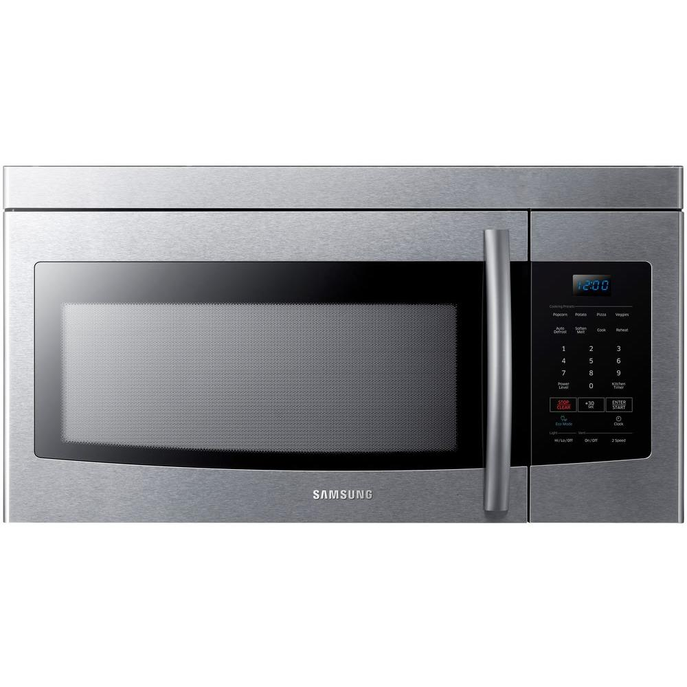 Samsung 1 6 cu ft over the range microwave in stainless steel me16k3000as the home depot - Built in microwave home depot ...