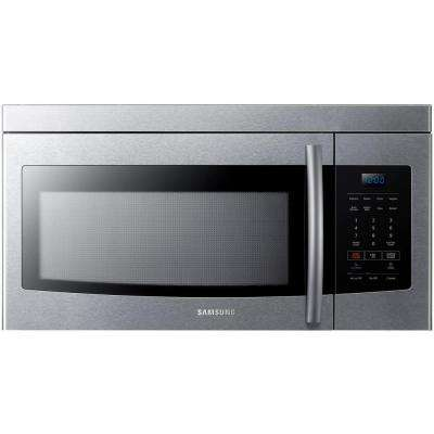 '1.6 cu. ft. Over the Range Microwave in Stainless Steel' from the web at 'https://images.homedepot-static.com/productImages/5c3c5781-323d-4277-9569-ff4c7aaeea0b/svn/stainless-samsung-over-the-range-microwaves-me16k3000as-64_400_compressed.jpg'