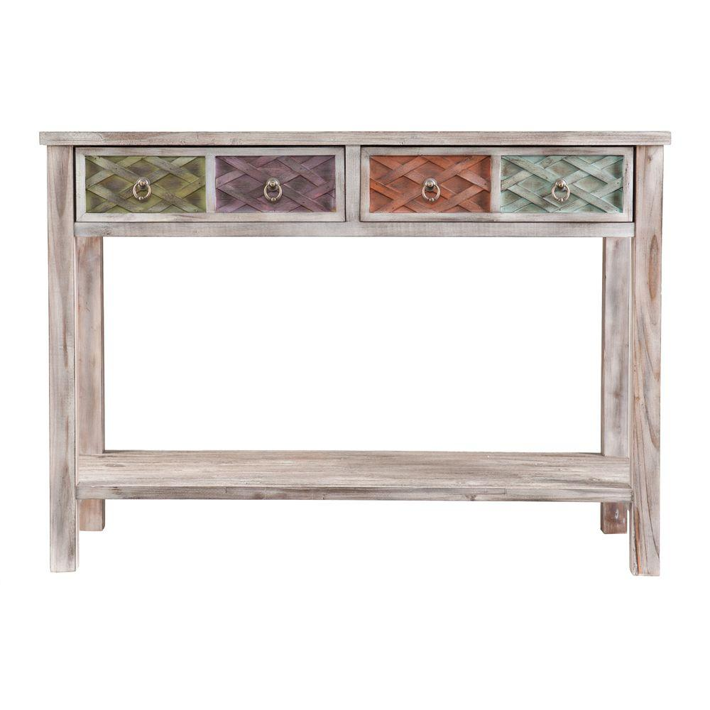 Attirant Southern Enterprises Erie White Washed And Multi Colored Storage Console  Table