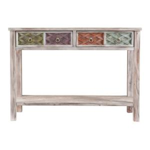 Southern Enterprises Erie White Washed And Multi Colored Storage Console  Table HD159638   The Home Depot