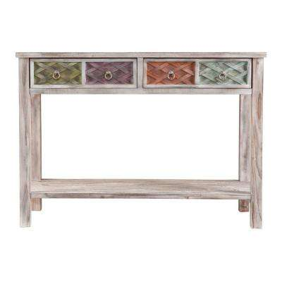 Erie White-Washed and Multi-Colored Storage Console Table
