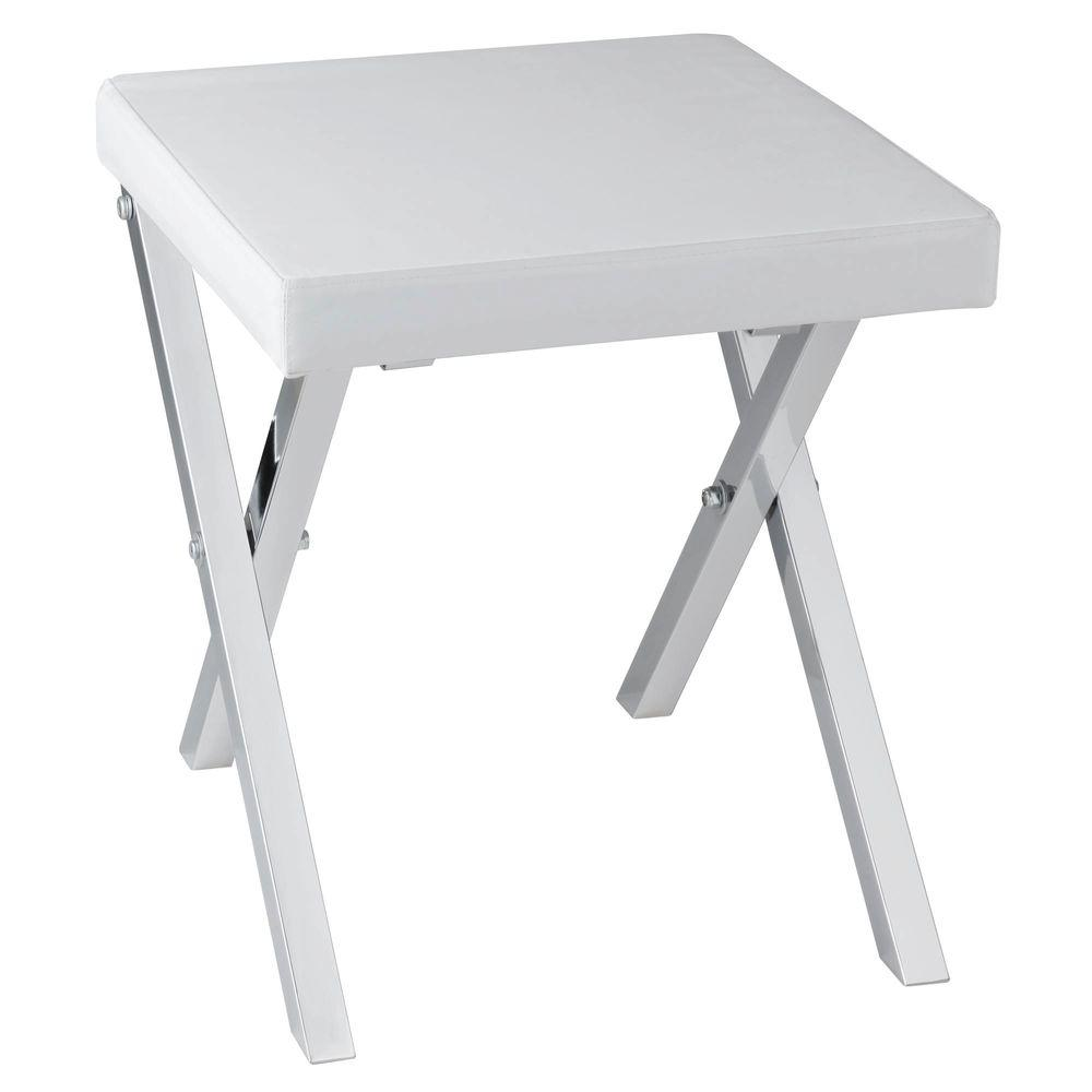 Folding Vanity Stool In Chrome
