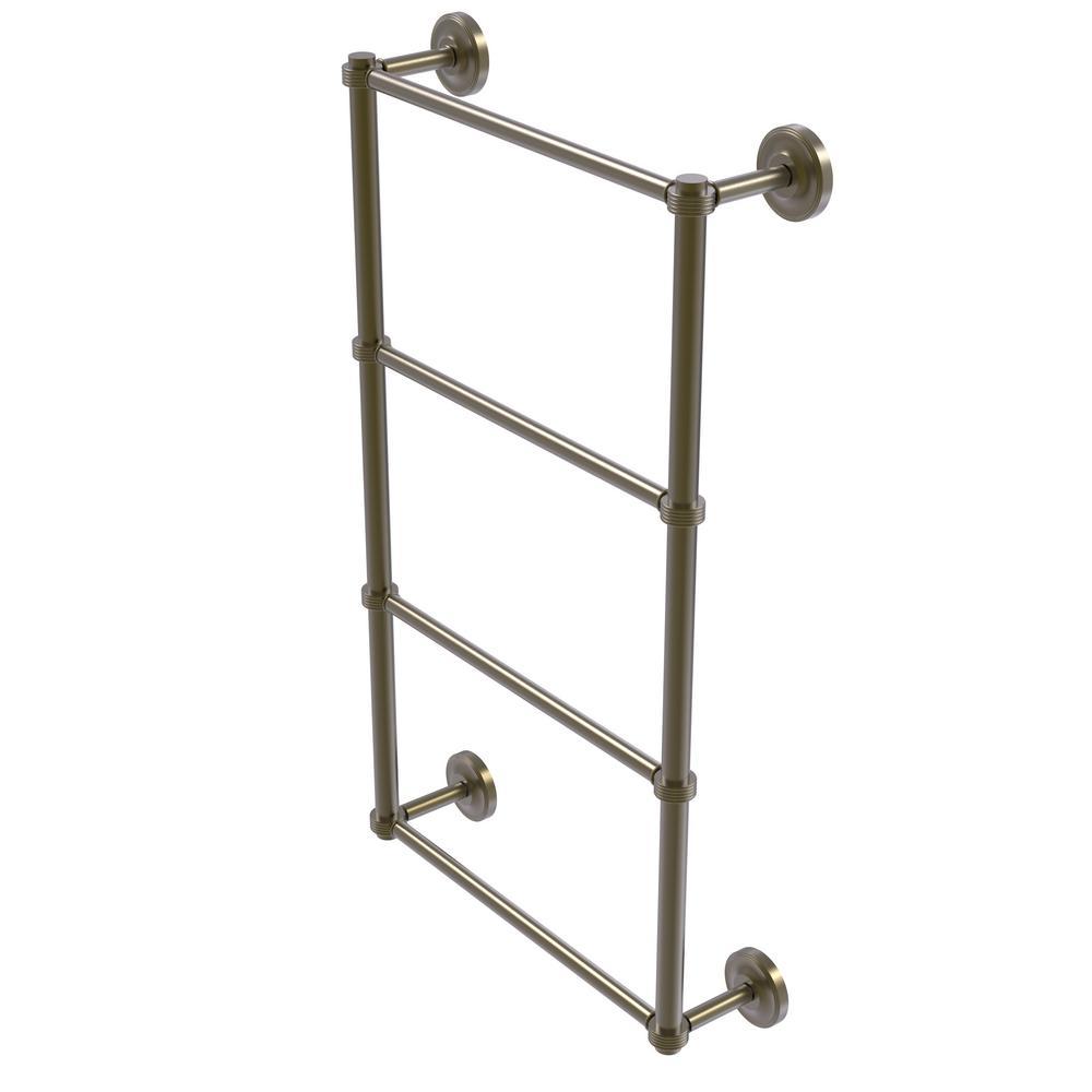 Prestige Regal 4 Tier 30 in. Ladder Towel Bar with Groovy Detail in Antique Brass