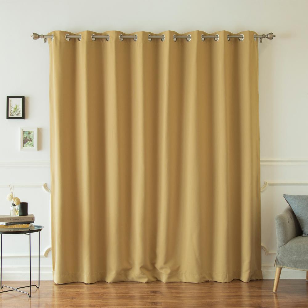 Wide Width Basic Silver 100 in. W x 84 in. L Grommet Blackout Curtain in Wheat