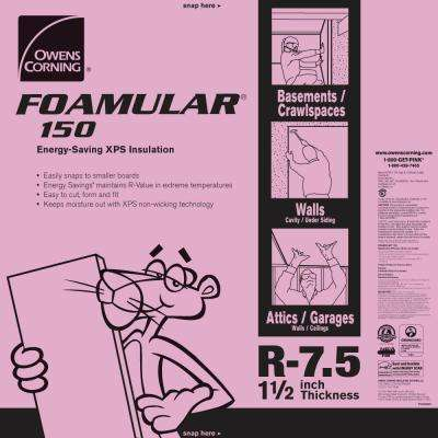FOAMULAR 150 1-1/2 in. x 4 ft. x 8 ft. R-7.5 Scored Squared Edge Rigid Foam Board  Insulation Sheathing