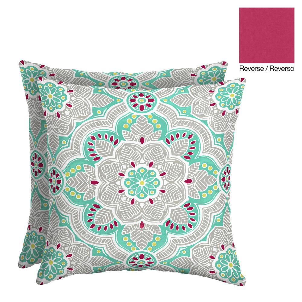 Jamila Medallion 16 in. Square Outdoor Throw Pillow (2-Pack)