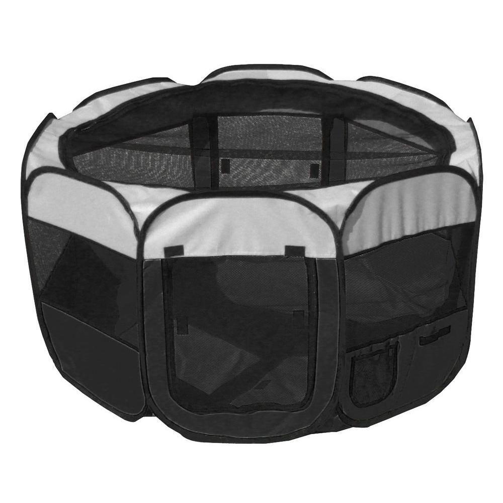 All-Terrain Lightweight Easy Folding Wire-Framed Collapsible Travel Dog Playpen in Black/White - LG