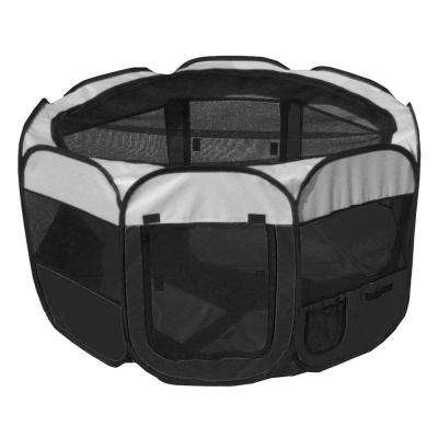 All-Terrain Lightweight Easy Folding Wire-Framed Collapsible Travel Dog Playpen - Black/White - MD