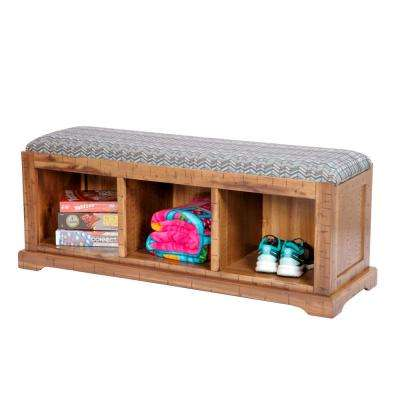 Distressed Toffee Solid Wood Hall Bench with High Fidelity Chevron Turquoise Fabric Covered Cushioned Seat