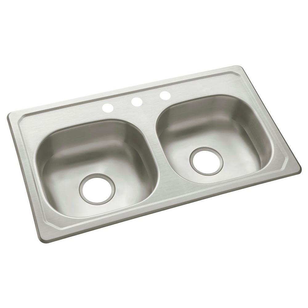 null Sterling Self-Rimming 33x19x6 3 Hole Specialty Sink in Stainless Steel-DISCONTINUED
