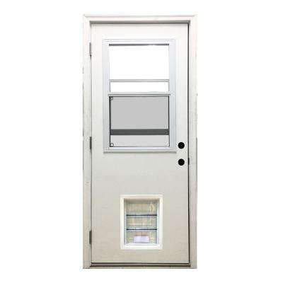 32 in. x 80 in. Classic Vented Half Lite RHOS White Primed Textured Fiberglass Prehung Front Door with XL Pet Door
