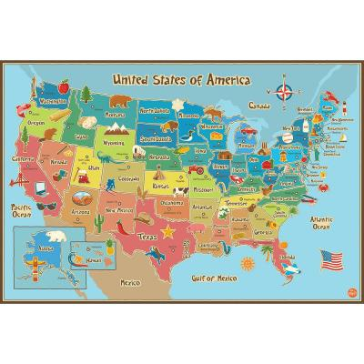 24 in. x 36 in. Multi-Colored Kids USA Dry Erase Map Wall Decal