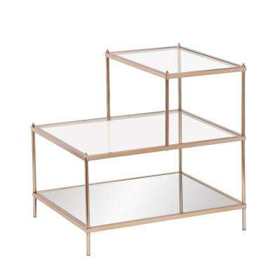 Melrose Metallic Gold Glass Top End Table