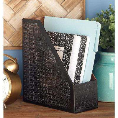 12 in. x 11 in. Decorative Black Iron Magazine Holder