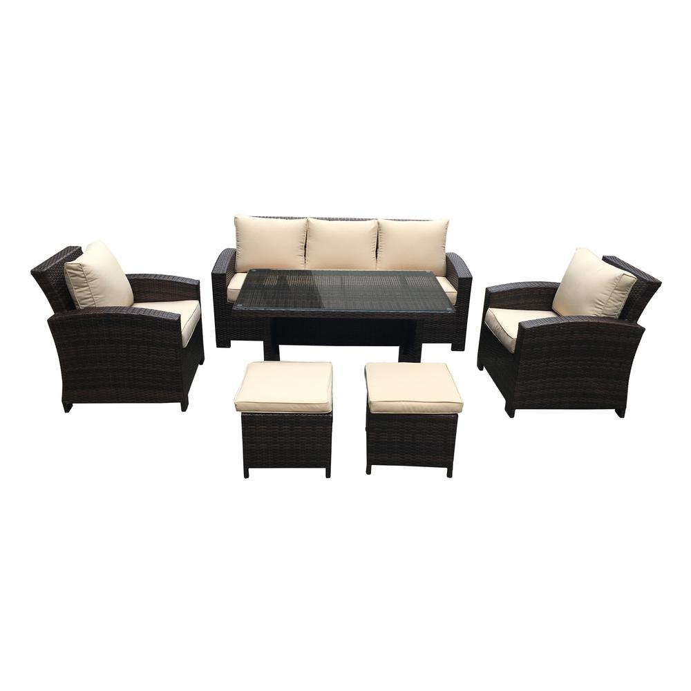 S'DENTE Atrani 6-Piece All-Weather Wicker Conversation Set with Beige Cushions