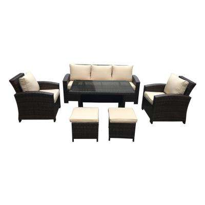 Atrani 6-Piece All-Weather Wicker Conversation Set with Beige Cushions