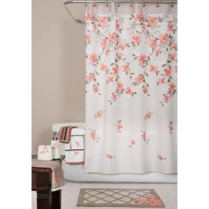 Internet #302628677. Saturday Knight Coral Garden Floral 72 In. Polyester Shower  Curtain