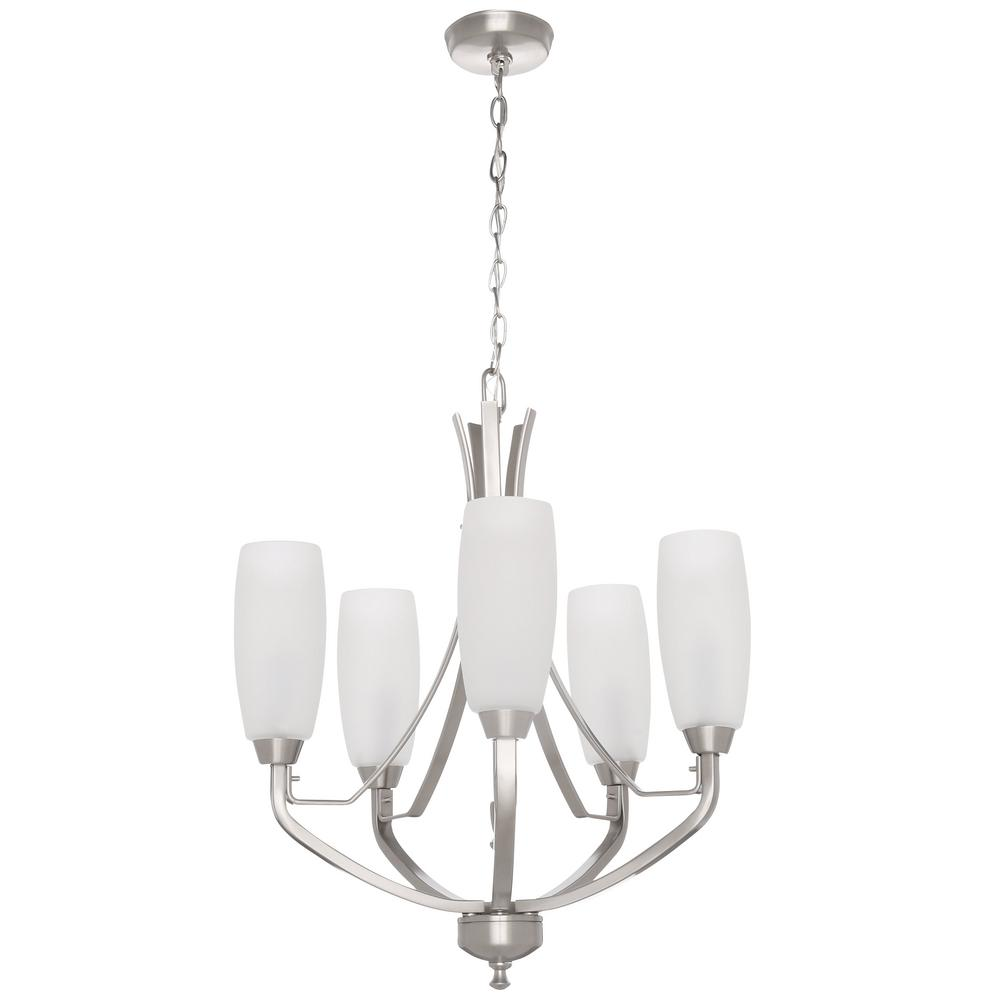 Progress Lighting Wisten Collection 5-Light Brushed Nickel Chandelier with Shade with Etched Glass Shade