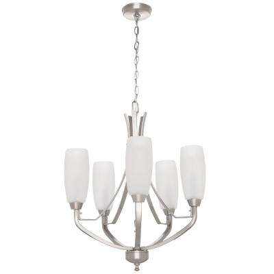 Wisten 5-Light Brushed Nickel Chandelier with Etched Glass Shade