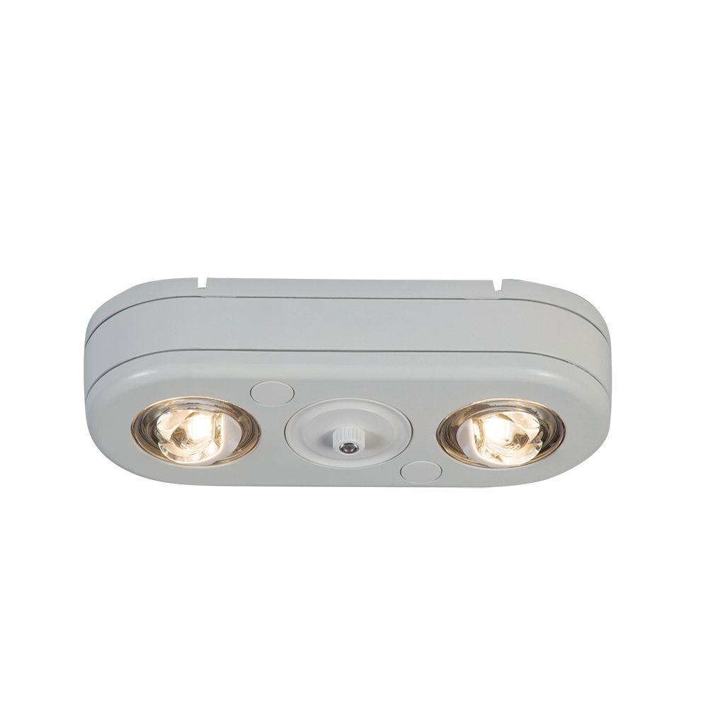 Revolve White Outdoor Integrated LED Twin Head Security Flood Light with
